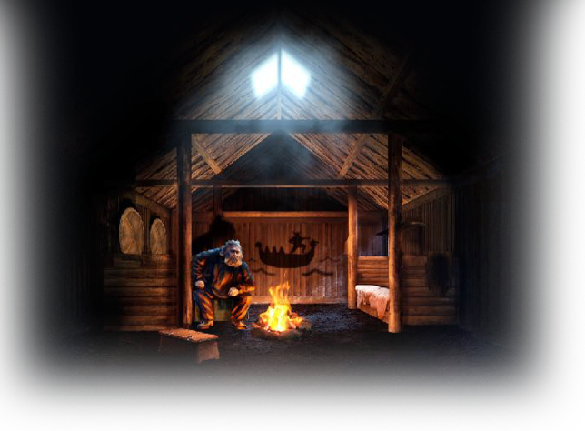 Illustration of an Icelandic storyteller sitting by a fire inside the Longhouse