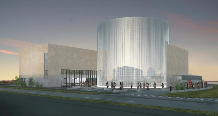 An architectural rendering of the FlyOver Iceland building