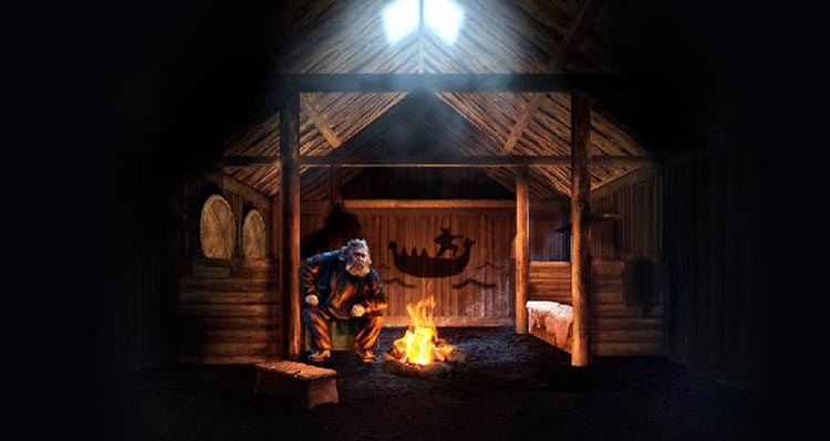 An illustration of a storyteller sitting around a fire in a longhouse.