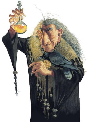 A troll holding a golden potion, illustrated by Brian Pilkington