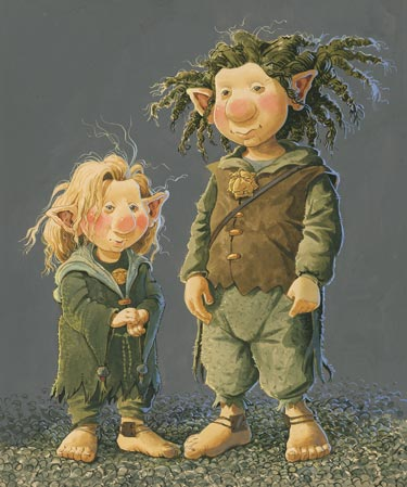 Two troll children illustrated by Brian Pilkington.