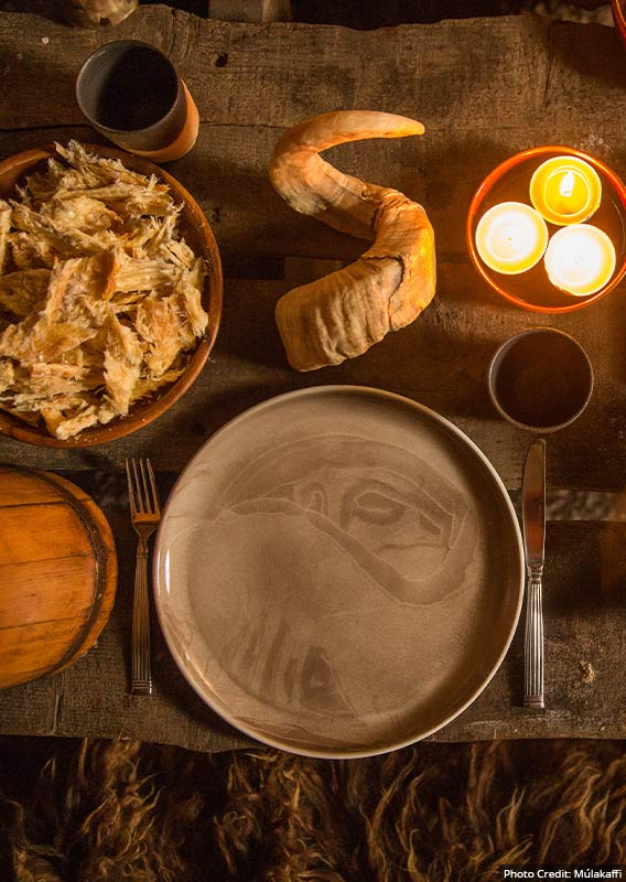 A table of traditional Icelandic food set up.